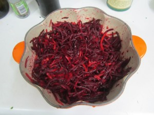 Only the beets in this salad were local.  Hopefully soon we'll have some of our own beets and carrots to use.
