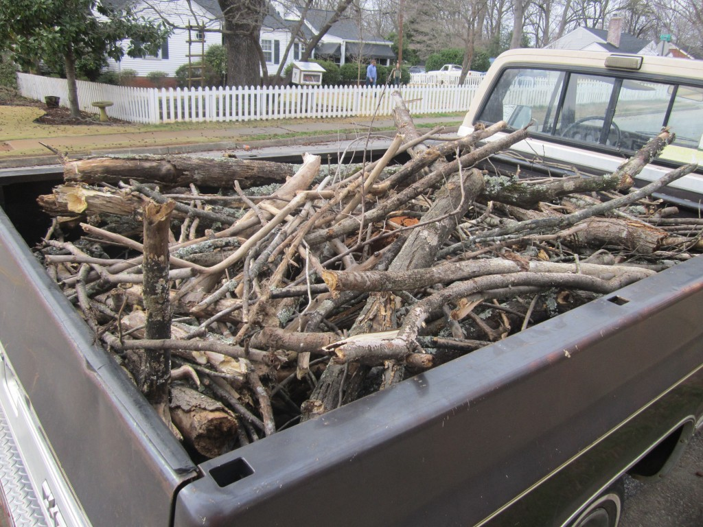 it only took me about half-an-hour to fill the back of our truck up with wood yard waste that people had piled up on the street for pickup.  Most of this will in turn be buried in our yard as part of our hugelkultur efforts.