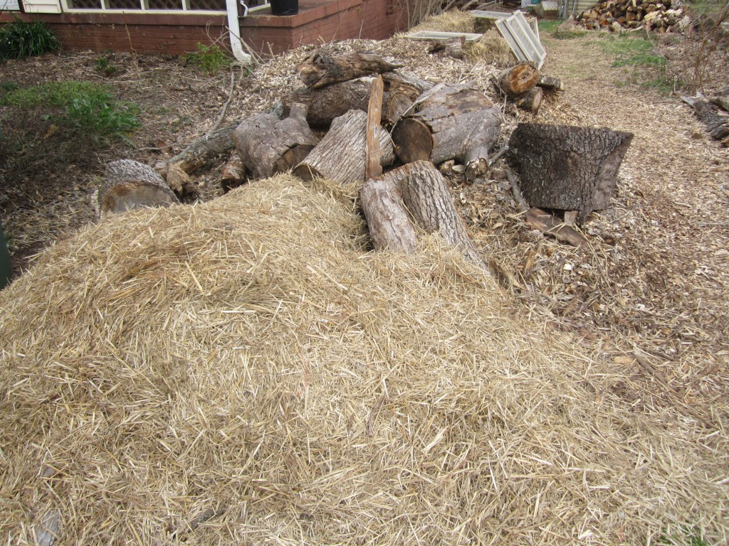 "Photo caption: These piles of straw, wood, and wood mulch, were all ""free"" in that we did not personally spend money on them.  We'll use them for a variety of things, like mulching beds, building boarders, and filling parts of our chicken run."