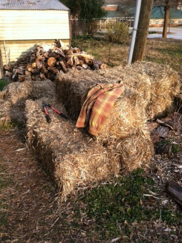 Straw bales and wood piles